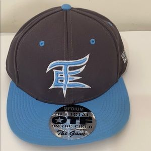 blue and grey snapback hat